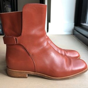 Via Spiga Brown Leather Square Toe Flat Boots Sz 8